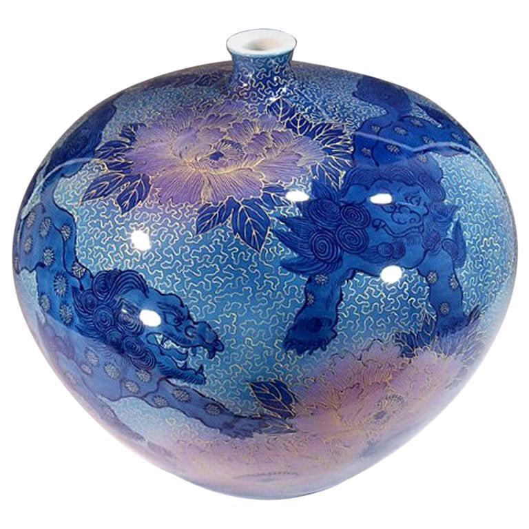 Japanese Contemporary Blue Pink Gilded Porcelain Vase by Master Artist