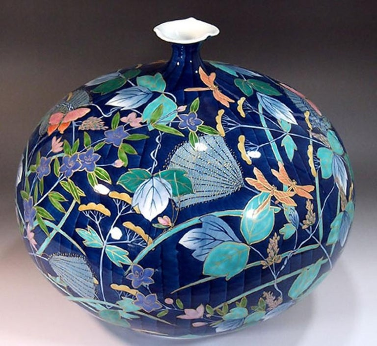 Large Japanese Contemporary Blue Red Green Imari Ceramic Vase by Master Artist In New Condition For Sale In Vancouver, CA