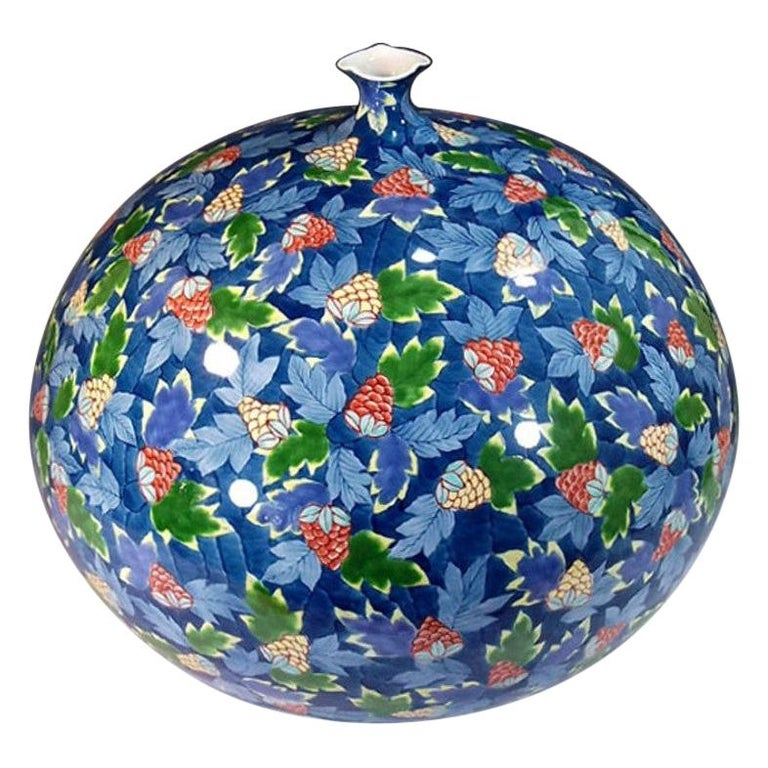 Large Japanese Contemporary Blue Red Green Imari Ceramic Vase by Master Artist For Sale