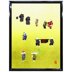 Large Japanese Contemporary Framed Silk and Brocade Oshie Wall Decorative Art