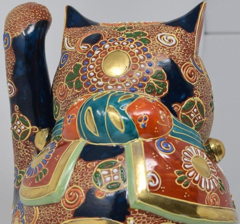 Large Japanese Contemporary Gilded Hand Painted Kutani Porcelain Beckoning Cat For Sale 2
