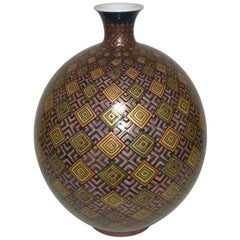 Large Japanese Contemporary Green Blue Gilded Ceramic Vase by Master Artist