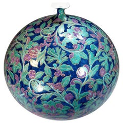 Large Japanese Contemporary Green Purple Blue Porcelain Vase by Master Artist