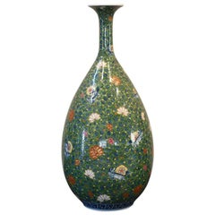 Large Japanese Contemporary Green Imari Porcelain Vase by Master Artist
