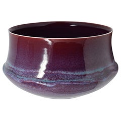 Large Japanese Contemporary Hand-Glazed Porcelain Wine Red Bowl by Master Artist