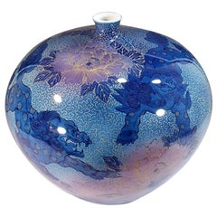 Large Japanese Contemporary Imari Blue Pink Gilded Ceramic Vase by Master Artist