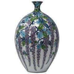 Large Japanese Contemporary Imari Blue Purple Porcelain Vase by Master Artist