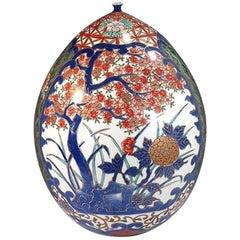Large Japanese Contemporary Blue Gilded Imari Porcelain Vase by Master Artist