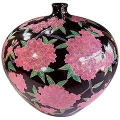 Large Japanese Contemporary Pink Black Porcelain Vase Gilded by Master Artist