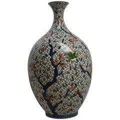 Large Japanese Contemporary Porcelain Vase Blue White by Master Artist