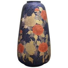 Large Japanese Contemporary Red Black Gilded Ceramic Vase by Master Artist