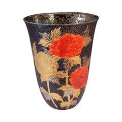 Large Red Black Gilded Porcelain Vase by Japanese Contemporary Master Artist