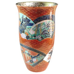 Large Japanese Contemporary Red Gilded Ceramic Vase by Master Artist