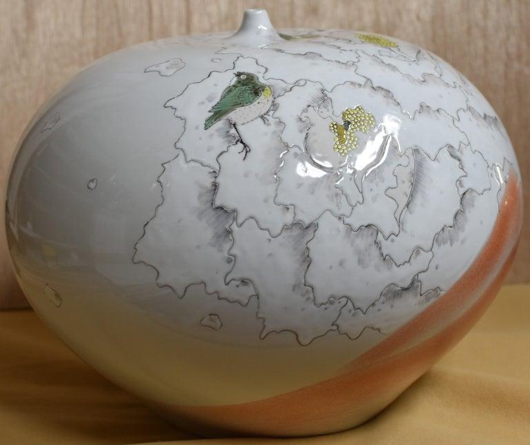 Large Japanese Cream Porcelain Vase by Master Artist For Sale 1
