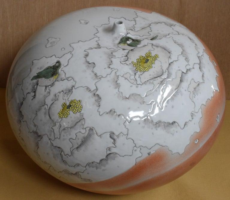 Large Japanese Cream Porcelain Vase by Master Artist For Sale 2