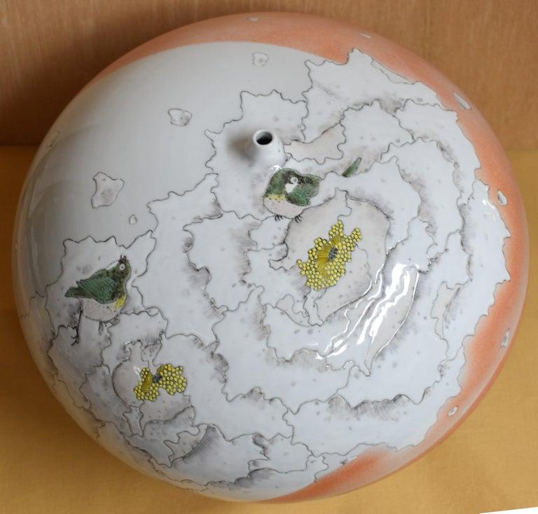 Large Japanese Cream Porcelain Vase by Master Artist For Sale 3