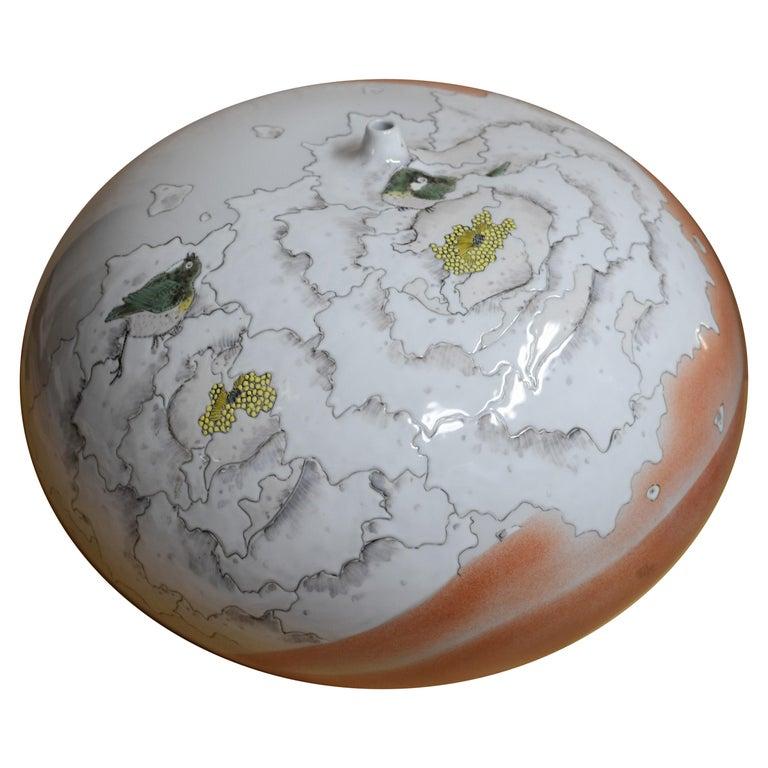 Large Japanese Cream Porcelain Vase by Master Artist For Sale