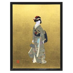 Large Japanese Green Silk Brocade Framed Handcrafted Decorative Art