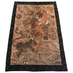Large Japanese Hand Needlework Tapestry, Meiji Period, 1880