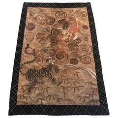 Large Japanese Hand Needlework Tapestry, Meiji Period, 1880