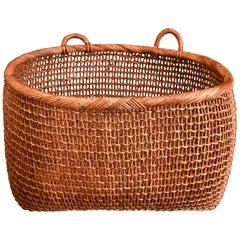 Large Japanese Hand Twined Akebia Vine Gathering Basket, Midcentury