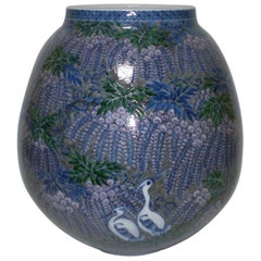 Large Japanese Imari Blue Decorative Porcelain Vase by Master Artist