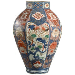 Large Japanese Imari Faceted Vase