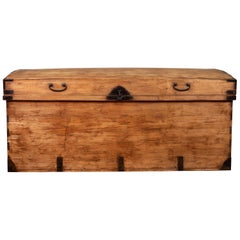 Large Japanese Kimono Storage Chest with Iron Braces and Handles, circa 1900