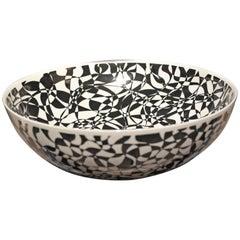 Large Black White Porcelain Bowl by Japanese Master Artist