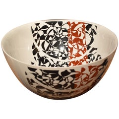 Large Japanese Contemporary  Kutani Black Red Porcelain Bowl by Master Artist