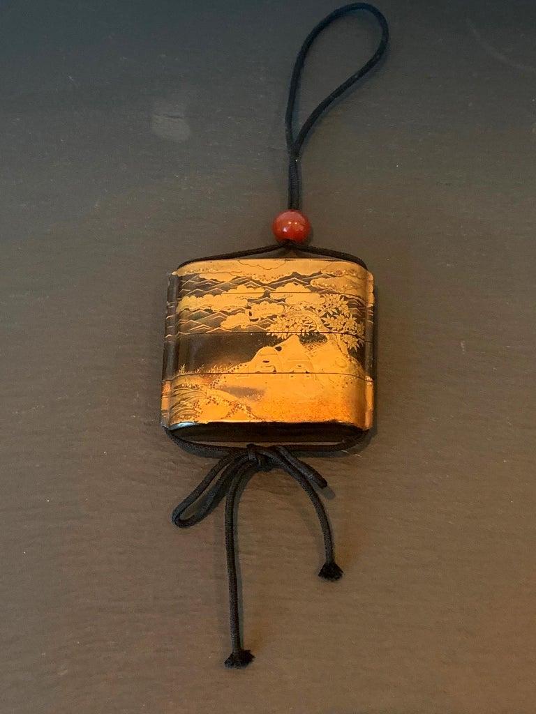 Japonisme Large Japanese Lacquer Inro with Maki-e Landscape Meiji Period For Sale