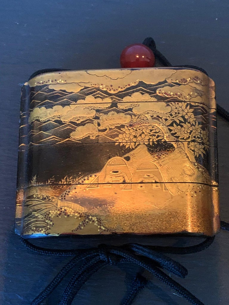 19th Century Large Japanese Lacquer Inro with Maki-e Landscape Meiji Period For Sale