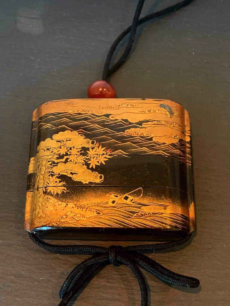 Wood Large Japanese Lacquer Inro with Maki-e Landscape Meiji Period For Sale