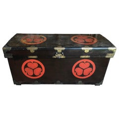 Large Japanese Lacquered Dowry Chest, Late Edo Period
