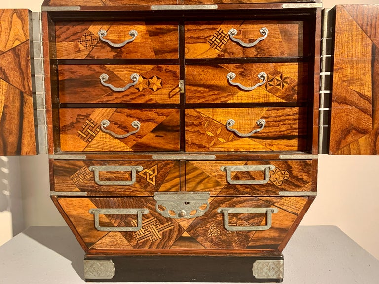 Large Japanese Marquetry Table Cabinet, Meiji Period, Late 19th Century, Japan For Sale 5