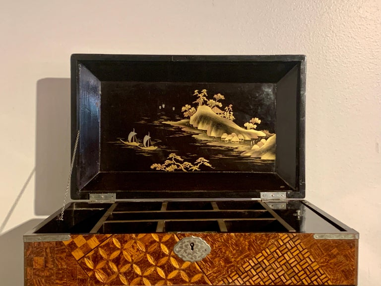 Large Japanese Marquetry Table Cabinet, Meiji Period, Late 19th Century, Japan For Sale 6