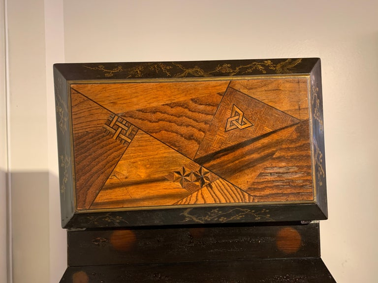 Large Japanese Marquetry Table Cabinet, Meiji Period, Late 19th Century, Japan For Sale 7