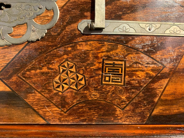 Large Japanese Marquetry Table Cabinet, Meiji Period, Late 19th Century, Japan For Sale 9