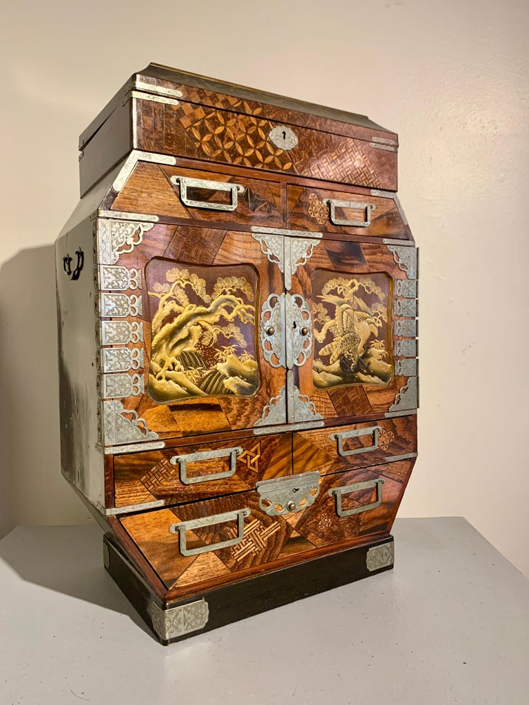 Embossed Large Japanese Marquetry Table Cabinet, Meiji Period, Late 19th Century, Japan For Sale