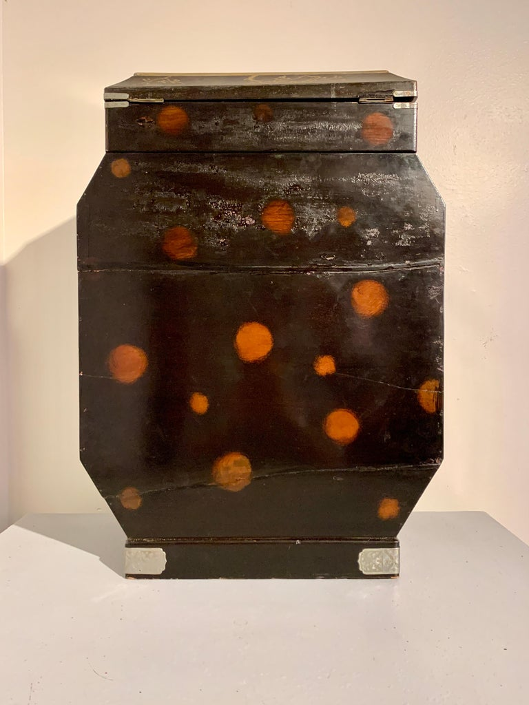 Brass Large Japanese Marquetry Table Cabinet, Meiji Period, Late 19th Century, Japan For Sale