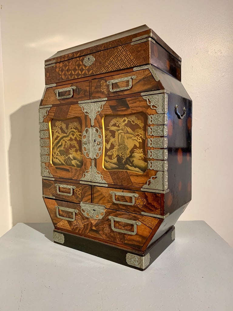 Large Japanese Marquetry Table Cabinet, Meiji Period, Late 19th Century, Japan For Sale 1