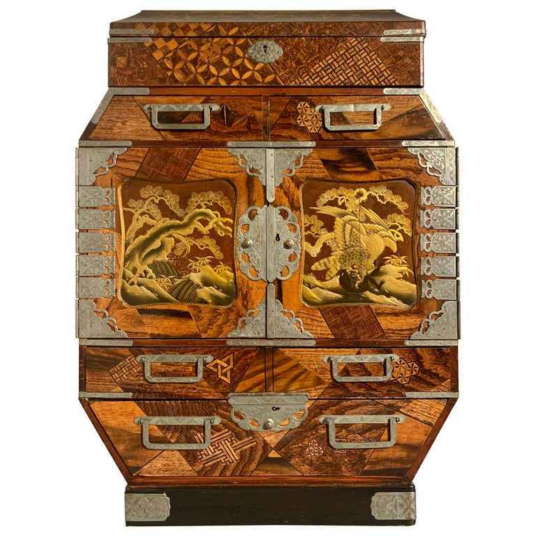 Large Japanese Marquetry Table Cabinet, Meiji Period, Late 19th Century, Japan For Sale
