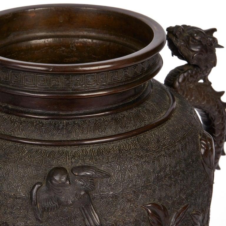 Large Japanese Meiji Bronze Lidded Urn, 19th Century For Sale 6