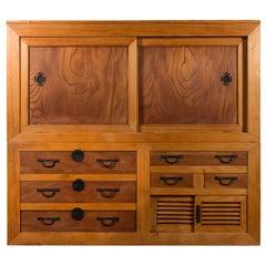 Large Japanese Meiji Period 19th Century Futon Tansu Cabinet with Iron Hardware