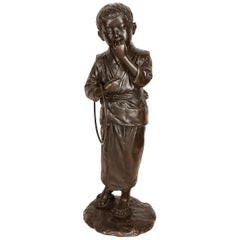 Large Japanese Meiji Period Bronze of a Young Child with a Play Hoop