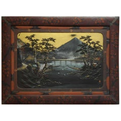 Large Japanese Painting witf Relief 'Mount Fuji' Antique Meiji, circa 1900