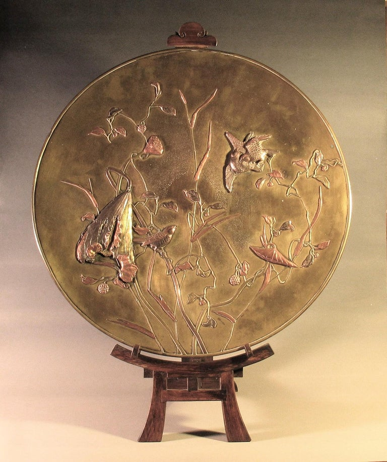Large Japanese Patinated Bronze Mixed Metal Charger Meiji Period, circa 1880 For Sale 5