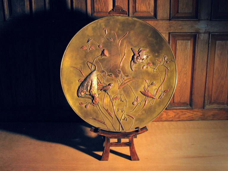 Large Japanese Patinated Bronze Mixed Metal Charger Meiji Period, circa 1880 In Good Condition For Sale In Ottawa, Ontario