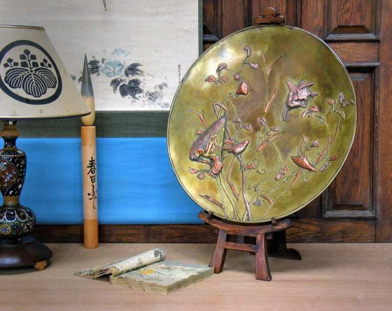 Large Japanese Patinated Bronze Mixed Metal Charger Meiji Period, circa 1880 For Sale 3