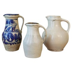 Large Japanese Pitcher with Blue and White Foliage Decoration, Okinawa